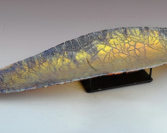Zodiac Dragon Scale - Crackle Fused Glass Sculpture with Stand 24""