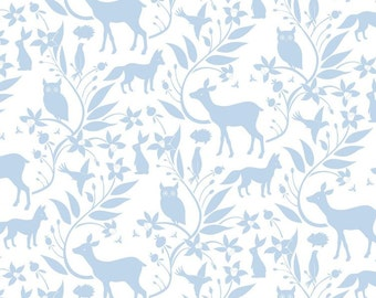 Blend Fabrics - Born Wild by Ana Davis - Woodland Creatures Blue