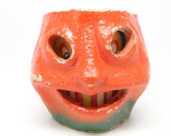 Vintage 1940's Halloween Smiling Jack-O-Lantern, made with Pulp Paper Mache