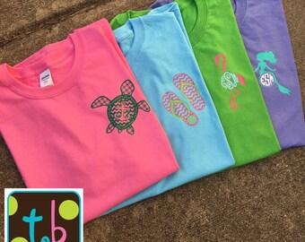 Spring Monogram Monogrammed tee Mermaid Anchor Turtle Flamingo Flip flops Shirt Monograms