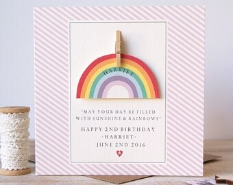 2nd Birthday Rainbow Card
