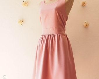 Midi Dress, Dusky Pink Bridesmaid Dress, Back Bow Tea Dress Summer Dress Dusky Pink Dress Party Dress Wedding -XS-XL, Custom