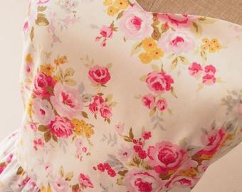 Floral Bridesmaid Dress Floral Summer Dress Sweet Vintage Floral Dress White with Pink Rose Tea Dress Tea Party Wedding Dress -XS-XL,custom