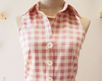 Pink Shirt Dress, Dusky Pink Gingham Dress Vintage Style Dress Cute Summer Sundress, Dancing Dress Working Dress Size XS-XL