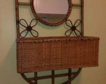 Vintage Bamboo & ball mirror shelf fixture