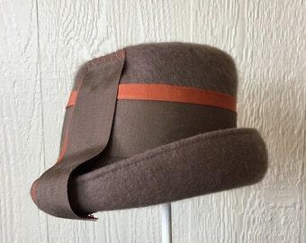 Sale- Vintage 60's Mod Mocha and Rust Hat