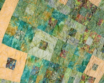 Batik Patchwork Lap Quilt, Tropical Squares, Handmade by PingWynny