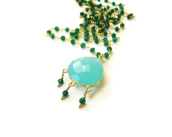 Long Green Necklace Turquoise Blue Green Onyx Long Layering Quartz Pendant Silver Gold Bohemian Boho Festival Gypsy Style Gift Idea For Her