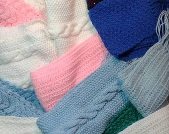 Choose any one warm, winter, handmade scarves, many to choose from, different designs and colors, both knit and crochet