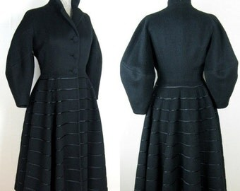 25% Off Summer Sale.... Vintage 1950's LILLI ANN Princess Coat 50s Full Skirt Coat with Balloon Sleeves Size 4S 27 Waist