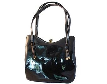 1950s Black Patent Leather Handbag, Two Compartment Purse