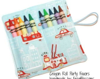 Crayon Roll, Firetrucks and Sirens, Crayon Rollup, holds up to 10 Crayons, Fireman Birthday Party Favors crayon wraps, crayon sleeves