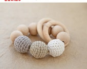 Sale! Teething toy with crochet wooden beads and 2 wooden rings. Light grey, beige, white wooden beads rattle.