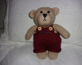 Hand knit Teddy Bear with removable overalls
