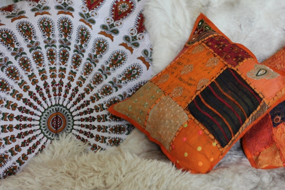 ORANGE SCATTER CUSHION- Indian Cushion- Sari Fabric- Vintage Pillow- Ethnic cushion- Bohemian Decor- Homeware- Bedding- Hippie Accessories