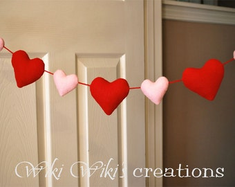 Plush Heart Garland 6ft- Pick your color