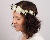 Wedding Flower Crown, White Rose Flower Crown, Bridal Crown, Wedding Crown, Rustic Wedding Headband, Woodland Hair Piece, Forest Nymph, Halo