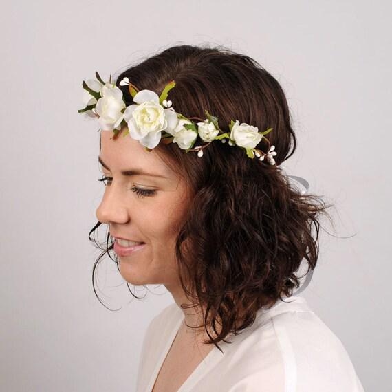 Wedding White Flower Crown: Wedding Flower Crown White Rose Flower Crown By VelvetTeacup