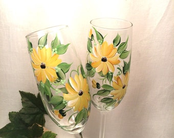 Black Eyed Susan hand painted pair of champagne flutes