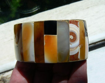 Vintage Shell Large Mosaic Color Block Cuff Bracelet - Orange, White, Gold, Black, Abalone, Half-Circle Pattern (J-16-520)