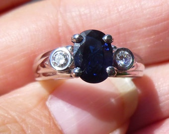 Bergio HEAVY 11 grams of platinum Bezel set  Platinum Diamond and Natural 1.21 Sapphire Engagement Ring 18 points in diamonds Engagment Ring