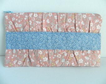 Peach and Blue Gathered Clutch