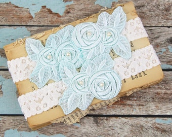 Light Ivory and Light Blue Lace Wedding Garter Set , Ivory Lace Garter Set, Toss Garter,Lace Garter Belt,Something Blue