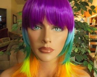 SPRING SALE - Rainbow Pride Wig - EDM Rave House Techno - Hair Colorful Wig - Cosplay - Daily Use - Wear Daily