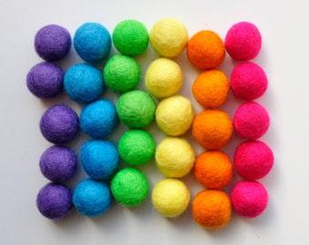 Rainbow Felt Ball Pack, 30 Pieces, Wool Felt Balls