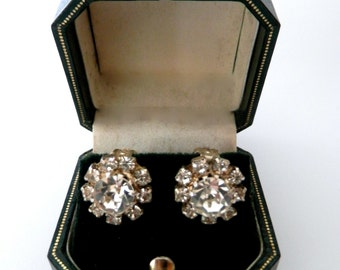 Beautiful Vintage 1950s Earrings, Aurora Borealis, Clip-Ons, Antique Jewellery