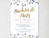 PRINTABLE Confetti Bachelorette Party invitations • navy, pink, gold effect • digital printable files • DIY print yourself