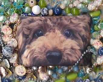 Poodle pouch, poodle purse, poodle clutch, poodle lover pouch, poodle portrait pouch, poodle makeup bag, PD-216