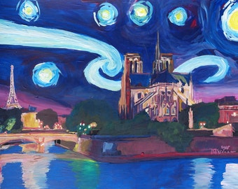 Starry Night in Paris - Van Gogh Inspirations with Eiffel Tower and Notre Dame
