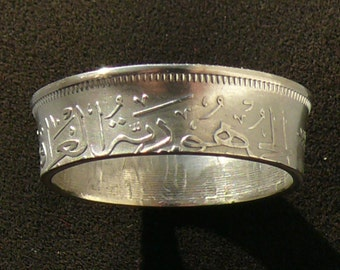 Mens Silver Coin Ring 1959 Iraq 100 Fils, Ring Size 12 and Double Sided