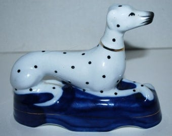 Dalmatian figurine Staffordshire fine porcelain  dog blue and white dog  home decor