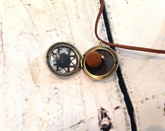 Men's or Boy's Diffuser Necklace - for use with Essential Oils - Round Bronze Filigree Locket