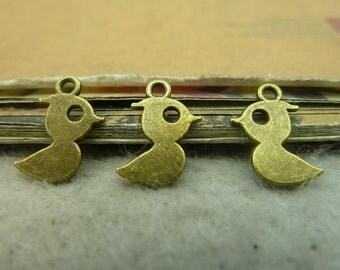 100pcs 9*14mm antique bronze duck mandarin duck  charms pendant C4345