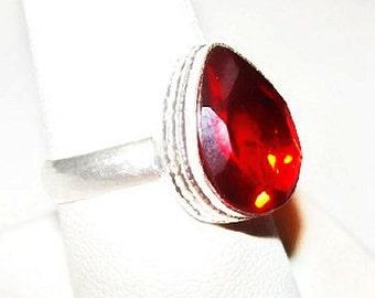 Natural Mozambique 6ct Garnet Ring Signed 925 Sterling Silver Sz 7 3/4 NOS Vintage