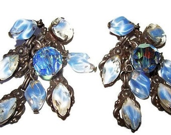 """Blue Dangle Clip On Earrings Glass Crystals & Givre Rhinestones Silver Metal 2.5"""" Vintage"""