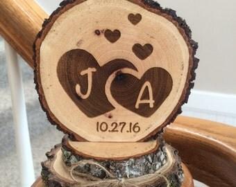 Wedding Rustic Cake Topper, Heart Topper, Engraved Wedding Cake Topper, Custom Cake Topper, Personalized Topper