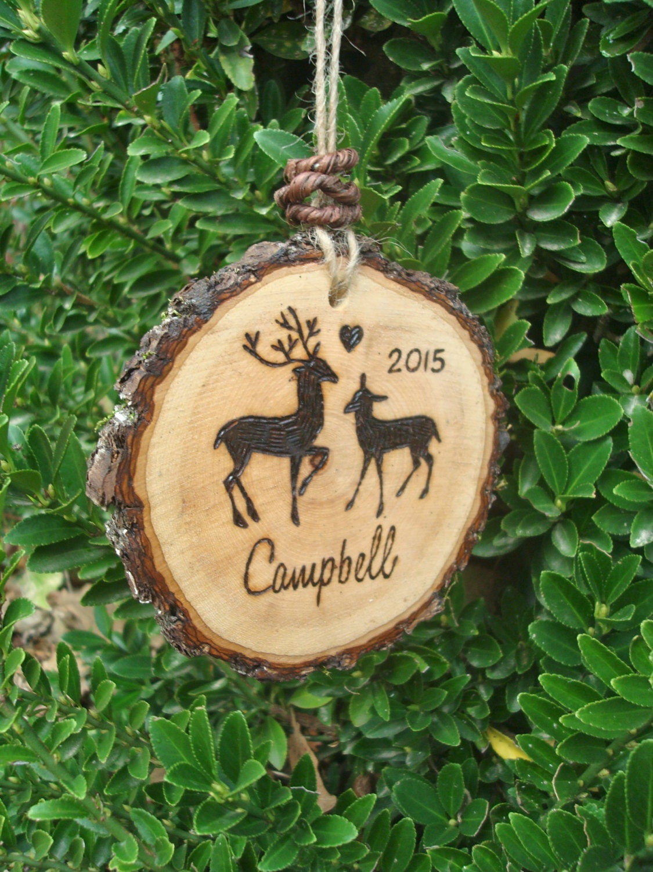 Wood christmas ornament rustic deer