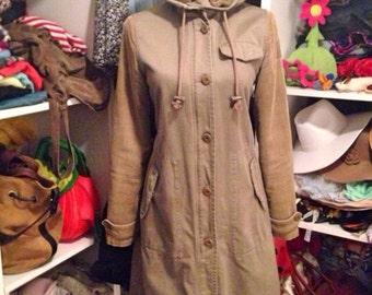 Green military cotton warm fleece with corduroy sleeve hooded parka coat