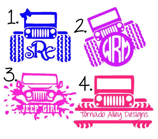 Monogram Decal  Yeti Cup Decal Jeep Vinyl Decal  Glitter Dipped - Custom custom vinyl decals for cups