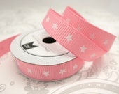 Pink Stars -- 3/8 Grosgrain Ribbon -- 4 feet -- American Crafts