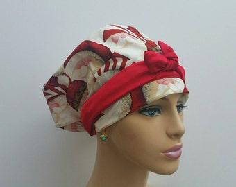Woman Medical Scrub Cap - Hohoho! Santa and Cheetah Spots - 100 % cotton