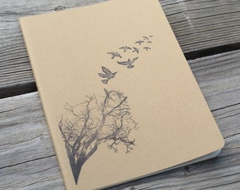 Taken Flight Flock Of Flying Crows Hand Stamped Journal Notebook