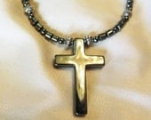 Mens Bold Hematite Cross Necklace 22 Inches Inches long on Hematite and Silver Beads with Sturdy Magnetic Clasp