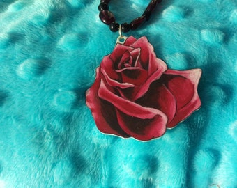 Red Rose, Shrinky Dink beaded necklace