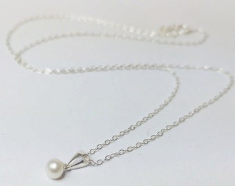 Sterling Silver Tiny Ivory Freshwater Pearl Drop Necklace - Bridal, Wedding,