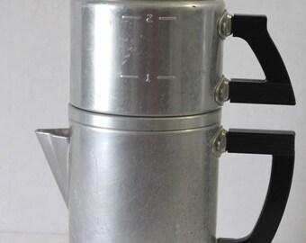 Vintage Wear Ever Aluminum Coffee Percolator Maker 1940s 2 Cups Retro Collectible Kitchen Decor